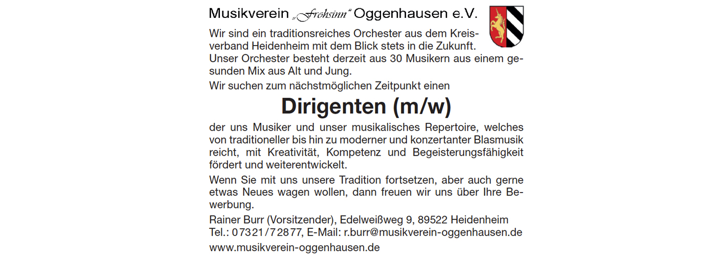 Dirigent Musikverein Oggenhausen